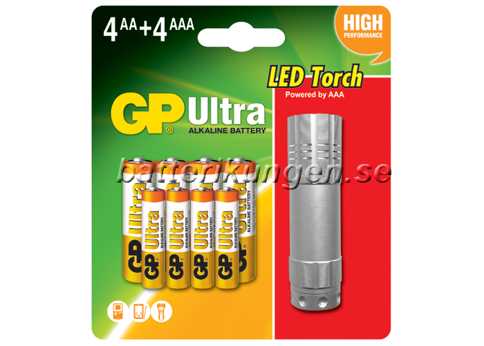 Batteripaket - 4st AA, 4 st AAA samt Ledficklampa